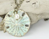 Nautical Jewelry Sand Dollar Summer Jewelry Distressed Rustic Boho Chic Vintage Style Antique Bass Necklace Creamy Sand and Sea Colors