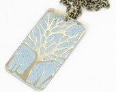 Tree Jewelry Light Blue Winter Tree Necklace Embossed Brass Distressed Weathered Icy Ice Blue Woodland Bohemian Boho Chic Jewelry