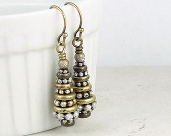 Snow Tree Earrings Beaded Jewelry Antique Brass Earrings Vintage Style Christmas Tree Earrings Winter Jewelry