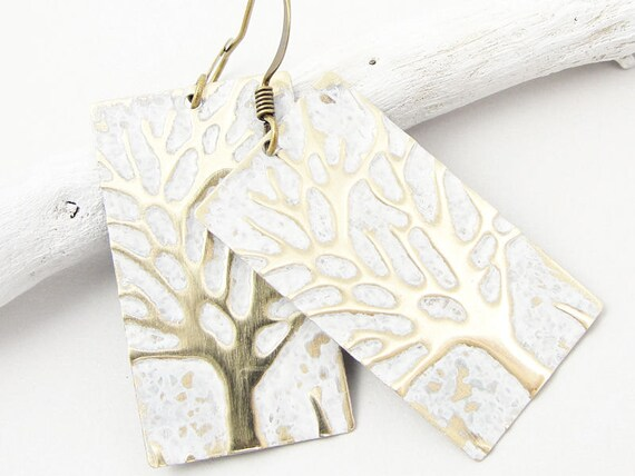 Winter Jewelry Rustic Hand Painted Winter Tree Earrings Snowy White Woodland Jewelry Holiday Festive Unique Gifts for Women Tree Jewelry