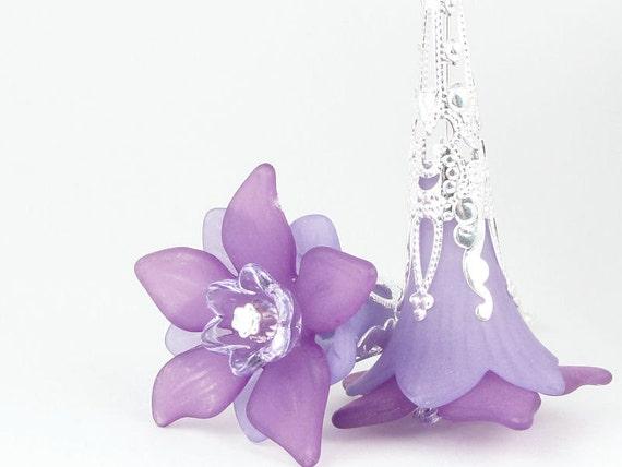 Purple Earrings Lucite Flower Earrings Sterling Earrings