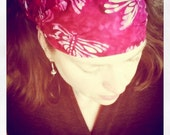 Dragonfly Hot Pink Batik Gypsy Wrap, size M  - yoga headband, dreadlocks, dread wrap