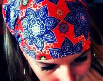 LAST ONE Gypsy Wraps by Julie Bartel:  Katmandu Gypsy Wrap, size M or L -  pre tied bandana,  dread wrap, yoga headband
