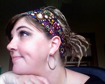 Gypsy Wraps by Julie Bartel, Black Effervescence Gypsy Wrap, size M or L - yoga headband, dread wrap, elastic bandana