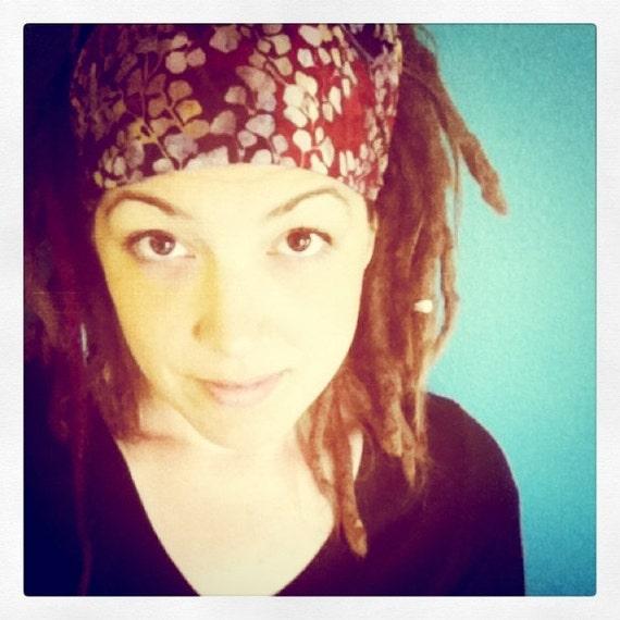 LAST ONE Gingko Batik Gypsy Wrap, size M, pre tied bandana, yoga headband, dreadlocks
