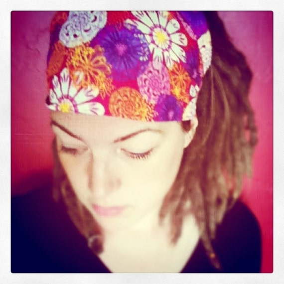 LAST ONE Narrow BoHo Headwrap - Petunia Party Gypsy Wrap, size M or L - headband, hair wrap, bandana