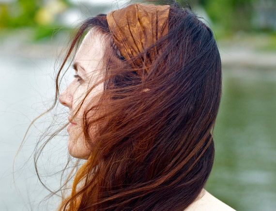 Madelyn Brown Batik Gypsy Wrap, size M or L - yoga headband, hair wrap, dread wrap, pre tied bandana