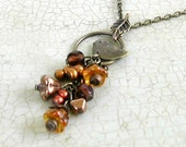 FREE SHIPPING Limited Time Antiqued Brass Bird Charm Necklace with Dangled Flower Beads