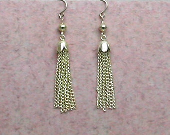Tassel Earrings Silver Plated Long