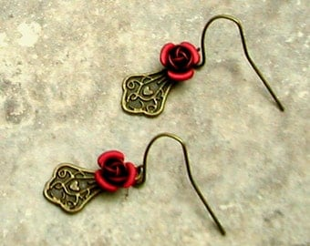 Red Rose Earrings with Victorian Filigree Brass Drop Short Dangled