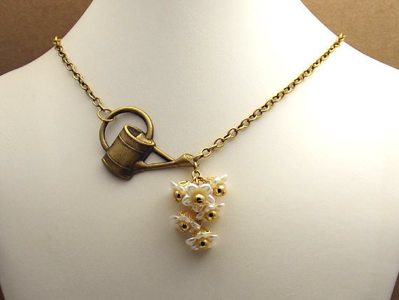 Pearl Flower Necklace Asymmetric with Watering Can