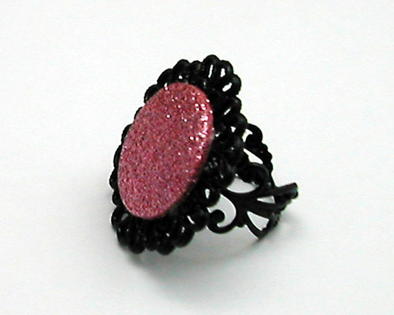 Pink Glitter Fashion Ring Black Filigree, Adjustable