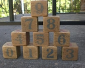 Antique vintage toy wooden blocks - letters and numbers