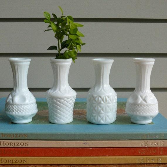 Small Milk Glass Bud Vases Set Of 4