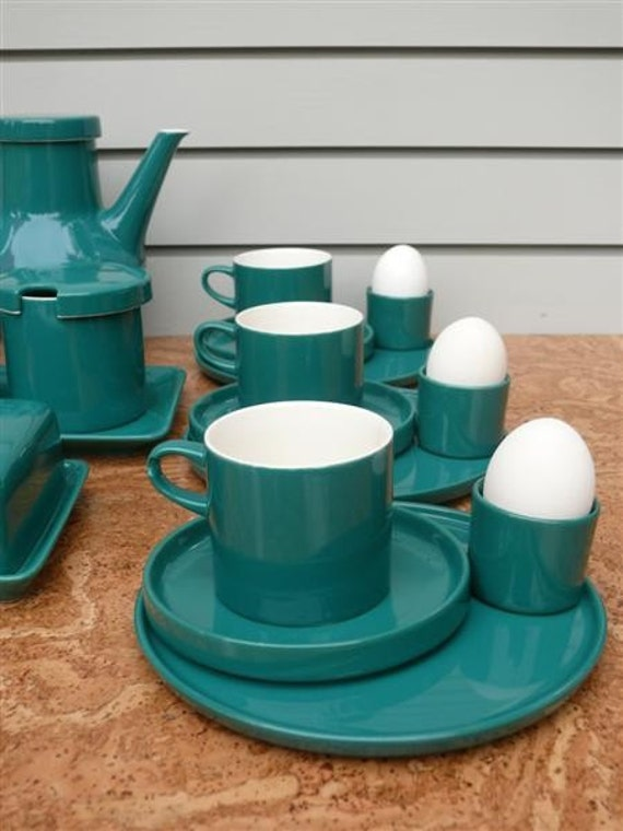 turquoise melitta breakfast tea set. Black Bedroom Furniture Sets. Home Design Ideas