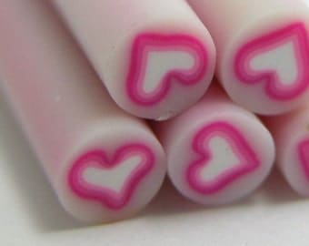 S047 Pink Lolly Heart - Polymer Clay Cane for Miniature Food Deco and Nail Art
