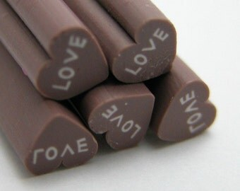 S040 Hot Love -Chocolate - Polymer Clay Cane for Miniature Food Deco and Nail Art