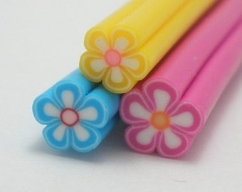 C024(3) Spring Blossoms Trio (Blue, Pink, Yellow) - Polymer Clay Cane for Miniature Food Deco and Nail Art