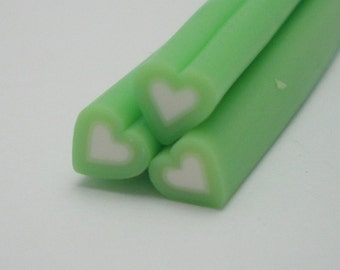 S011 Candy Heart (Green) - Polymer Clay Cane for Miniature Food Deco and Nail Art