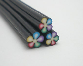 S078 Rainbow Blooms - Polymer Clay Cane for Miniature Food Deco and Nail Art