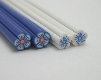 C001(2) Bundle of 2 - Winter Blossoms (Blue & White) - Polymer Clay Cane for Miniature Food Deco/Nail Art