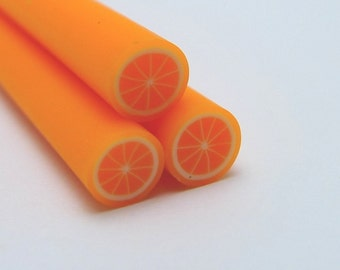 S141 Fruit - Orange Tangerine - Polymer Clay Cane for Miniature Food Deco and Nail Art