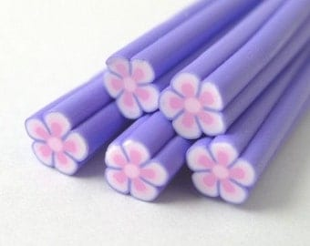S140 Tiny Lilac Flower - Polymer Clay Cane for Miniature Food Deco and Nail Art