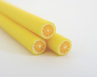 S117 Fruit - Yellow Lemon - Polymer Clay Cane for Miniature Food Deco and Nail Art