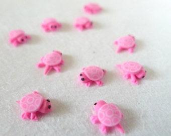 3D Kawaii Bright Pink Tortoise Cabochons (10 pcs)