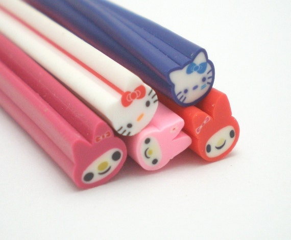 C005(5)  Kitty and Melody Combo - Polymer Clay Cane for Miniature Food Deco and Nail Art