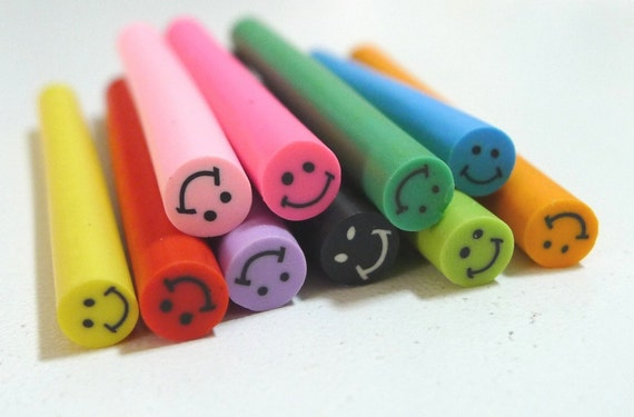 C030(10) Smiley Face Rainbow collection - Polymer Clay Cane for Miniature Food Deco and Nail Art