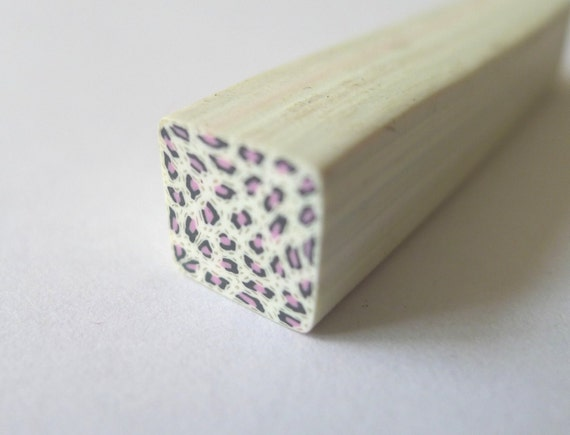 B016 Safari Madness - Animal Print Leopard (pink) - Large size Polymer Clay Cane for Miniature Food Deco and Nail Art