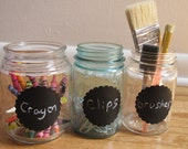 Chalkboard Labels-Tags-Self Adhesive-Buy 2 get 1 free-Scalloped circles-3.5 inch set of 12 with chalk