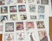 Stickers-Stamps-Labels-Vintage Stamp Set-Vintage Label Deco Sticker Set-6 Sheets