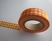Japanese Masking Tape-Washi Tape-Deco Tape-Single Roll-Orange Dots-Perfect for packaging and scrapbooking
