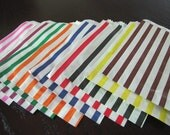 Striped Bags-Sweet Shop Favor Bags-Set of 50-You Pick ANY COLOR COMBO-Available in 9 Colors-Striped Paper Bags-Merchandise Bags