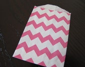 Paper Bag-Bitty Bag-Favor Bag-Treat Bag-Set of 10 pink and white- Chevron Striped Bags-2.75 x 4