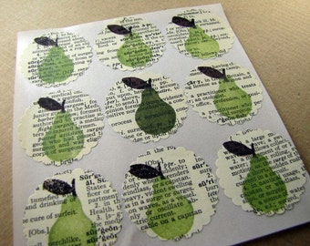 Stickers, Labels, Envelopes Seals, Scrapbooking Embellishment, Old Book Pears