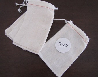 Muslin Bags-Fabric Pouches-Gift Wrapping-Packaging-Set of 10 -3 x 5 inches