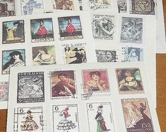 Stickers-Stamps-Labels-Vintage Stamp Set-Vintage Label Deco Sticker Set-6 Sheets