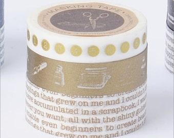 Washi Tape-Making Tape-Deco Tape-Typewriter-Gold-3 roll set-Scrapbooking Embellishment