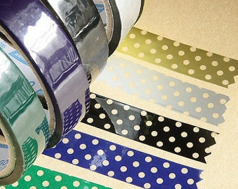 Deco Tape-5 roll set Polka Dots-Green, Blue, Black, Silver and Gold