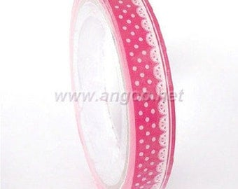 Tape-Deco Tape-Sticker Tape-Pink lace and Polka Dots-Scrapbooking