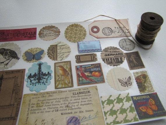 Stickers-Labels- Envelope Seals, Vintage Style Set- Scrapbooking Embellishment, Tag, Labels-set of 22