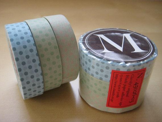 Japanese Masking Tape-Washi Tape-3 roll set Blue dots