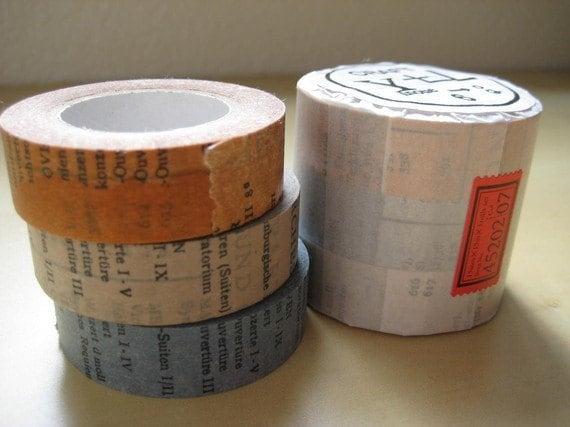 Japanese Masking Tape-Washi Tape-OLD BOOK-3 Roll Set