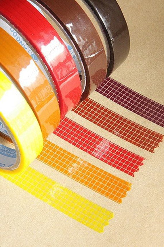 Deco Tape- Grid-5 roll set-Sticker Tape-Japanese Tape-Packaging-Gift Wrapping