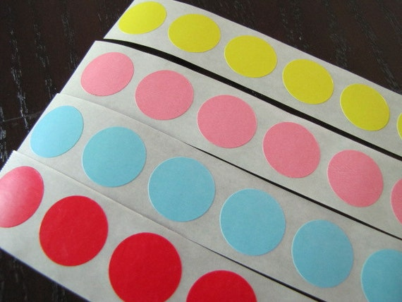 Stickers-Round-Circle Labels-Set of 80-Yellow, Pink, Blue and Red