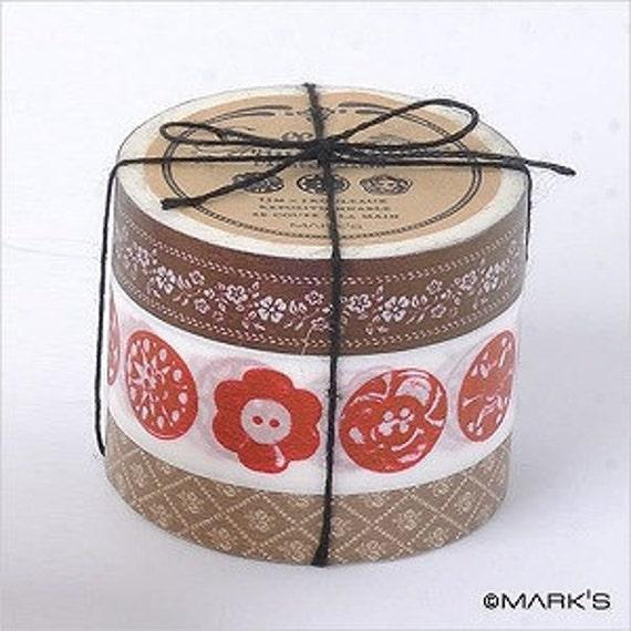 Washi Tape-Masking Tape-Japanese Tape-Coffret du Courturier-3 roll tape set-BROWN