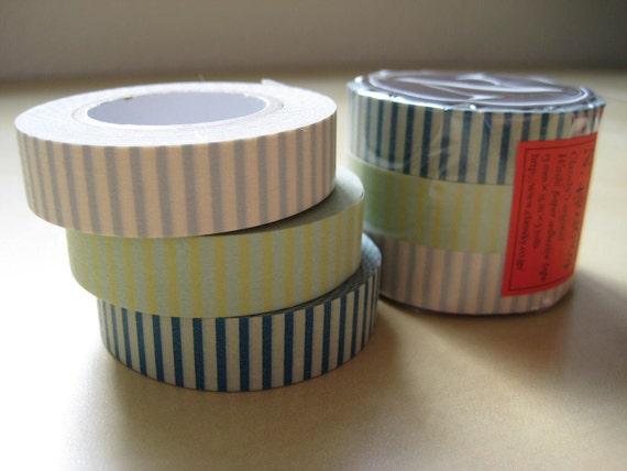 Washi Tape-Masking Tape-3 roll set blue stripes